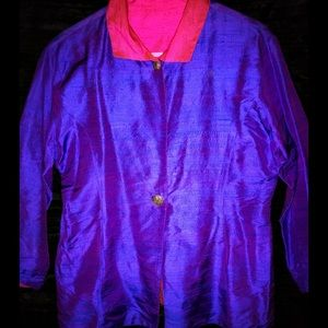 Vintage Pink & Purple Reversible Silk Jacket